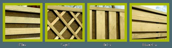 Diverse soorten NoiStop Wood schermen voor projecten